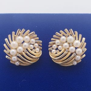 Vintage Crown TRIFARI Pearl & Rhinestone Earrings